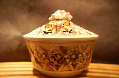 Candy Dish - Criss-Cross Pattern with Flowers and Butterfly - Very Pretty](Flowers And Candy)
