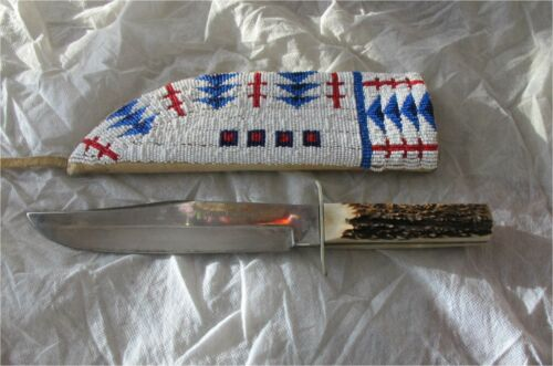 SIOUX INDIAN BOWIE KNIFE NATIVE AMERICAN BEADWORK GLASS BEADS Leather 1930
