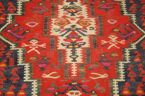 Circa 1910s Antique Caucasian Kilim 4.6x9.7 Estate Find_natural Vegetable Dye
