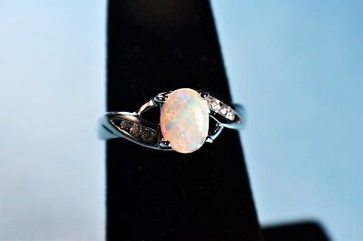 Sterling Silver Created Opal Ring in Gift Box by AVON - Size 9