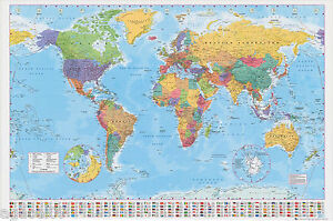 GIANT MAP OF THE WORLD POSTER WALL BRAND NEW WITH COUNTRY FLAGS GREAT GIFT NEW
