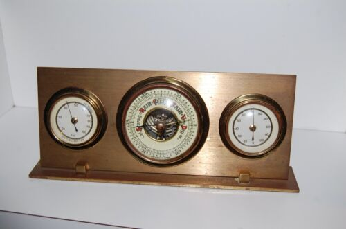 Perfect German brass barometer, hydrometer, Fahrenheit thermometer, heavy stand