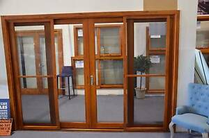 SOLID CEDAR TIMBER SLIDING DOORS WITH FLY SCREEN, 2950Wx2100H,6MM Melbourne CBD Melbourne City Preview