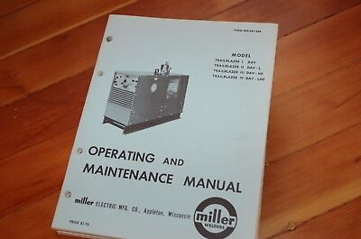 Miller Welder Trailblazer 1 2 3 4 Owner Operator Operation Maintenance Manual I