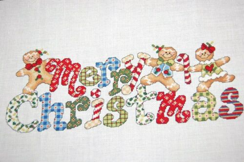 Finished Completed Cross Stitch Christmas Merry Christmas w/Gingerbread Cookies