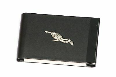 Diver Design Black Pu And Metal Business Or Credit Card Holder Gift 105