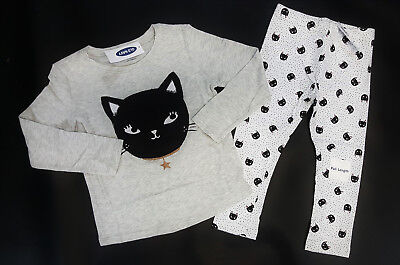 NWT Old Navy Girls Size 18 24 Months 2t 3t 4t Kitty Cat Top & Leggings Halloween (Halloween Month)