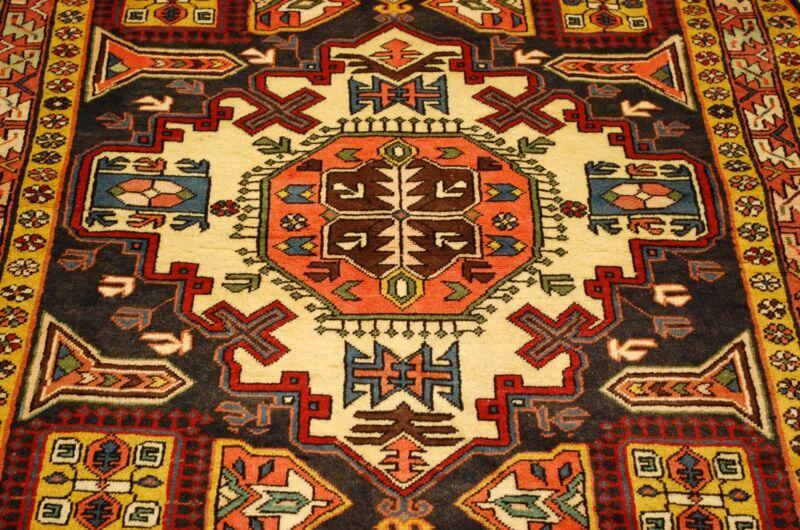 C1930s Antique Vegy Dye Kazak Design Caucasian Rug 4.7x10.6 Kork Wool_fine Woven