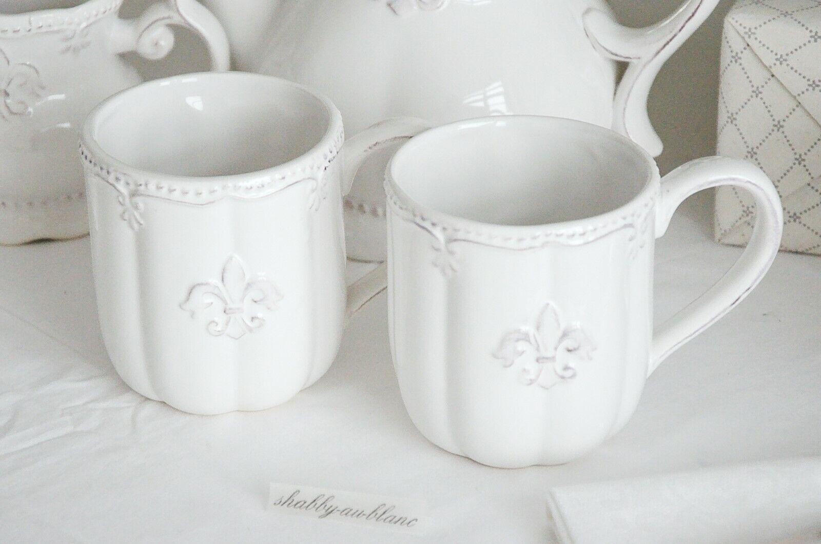 Clayre & Eef Becher Kaffee Tasse Teetasse französische Lilie Weiß Shabby Chic
