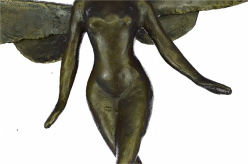 LARGE NUDE FEMALE ANGEL BRONZE STATUE SIGNED BY WATSON HOT CAST HOME DECOR FIGUR