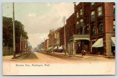 Muskegon Michigan~Western Avenue~Occidental Hotel~Stores~Cigars~1909 (Michigan Avenue Stores)
