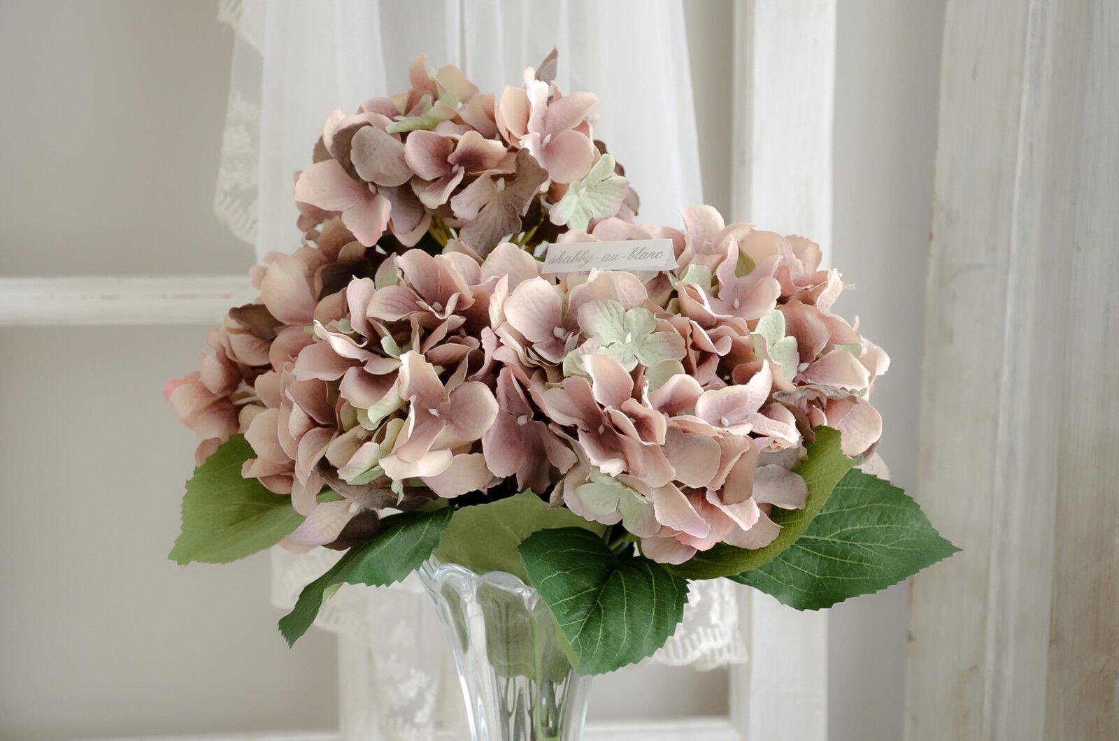 Hortensie Kunstblumen Strauß Seidenblumen Blumen  Shabby Chic Landhaus