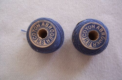 """2 Antique Wooden Spools Cadet Blue Embroidery Sewing Thread """"Collectible"""""""