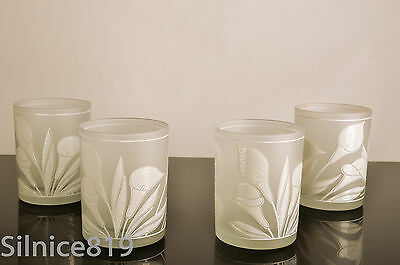 Vintage Culver Calla Lilly? Frosted Old Fashioned Glasses Set of 4