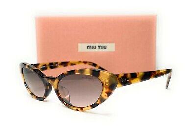 Miu Miu SMU 09U 7S0-QZ9 Light Havana Brown Grad Women's Sunglasses Cat Eye 53mm