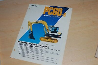 Komatsu Pc60-6 Excavator Dealer Sales Brochure Ad Catalog Vintage Old Equipment