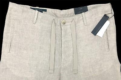 Men's PERRY ELLIS Natural Linen Khaki Drawstring Pants Tagged 34 NWT NEW ()