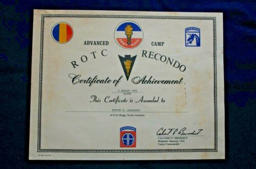 Certificate of Achievement from ROTC Recondo Advanced Camp, 1973