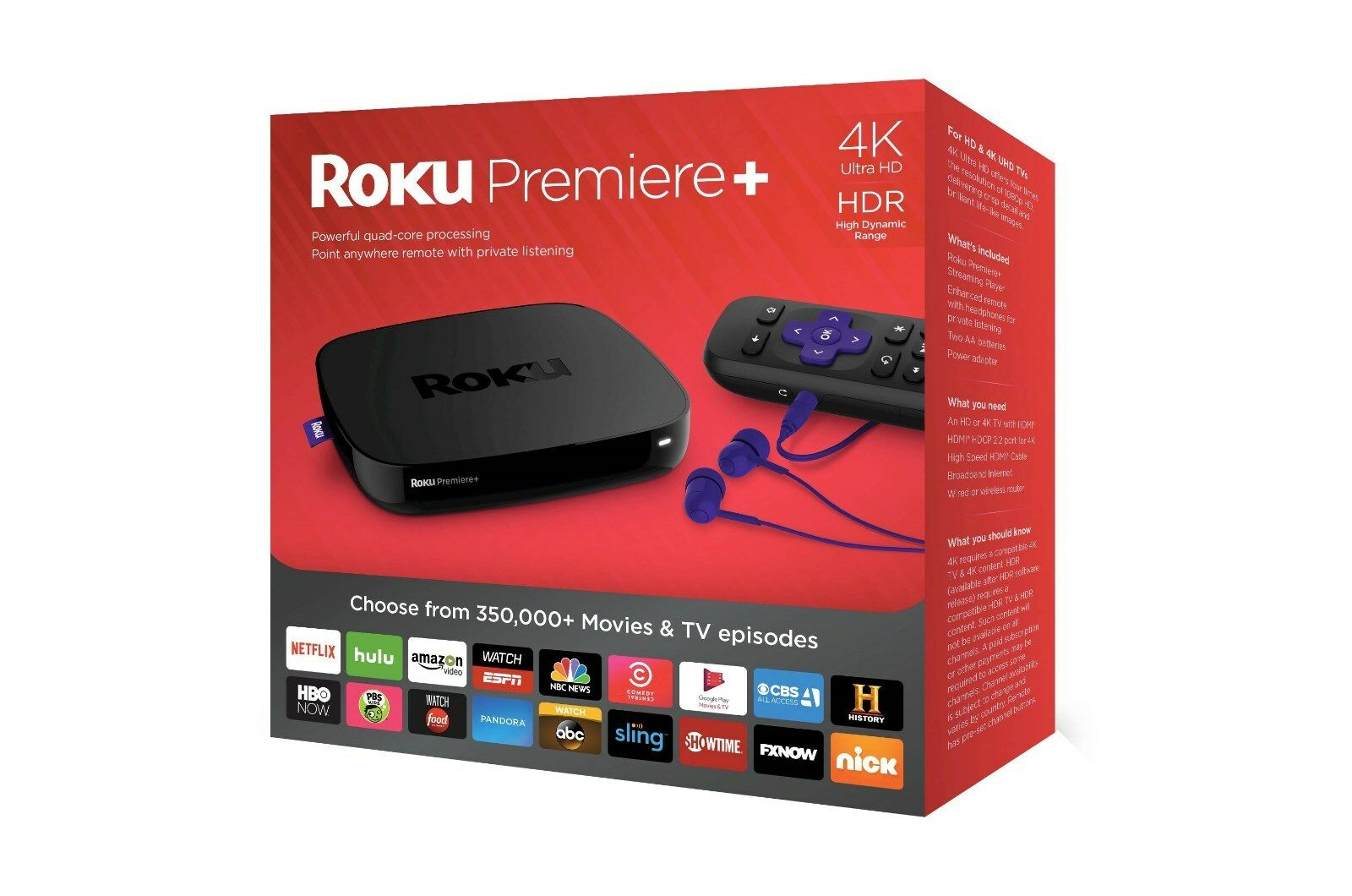 Купить Roku Roku Premiere+ -  Roku Premiere+ Plus 4K HDR Streaming Media Player 4630R Brand New