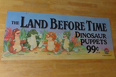 The Land Before Time Dinosaur Hand Puppet Hang Cardboard Poster Pizza Hut Sign