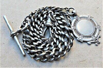 NO RESERVE HM1895 Victorian Silver Albert Pocket Watch Chain Vintage Antique