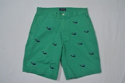 """Polo Ralph Lauren 30 x 9"""" Green All Over Whale Recent Flat Front Chino Shorts"""