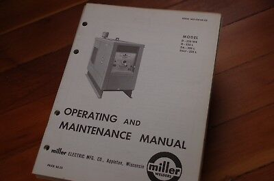 Miller Welder Model Dah D-250 L Owner Operator Operation Maintenance Manual Book