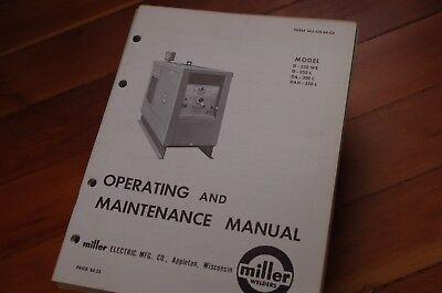 Miller Welder Model Dah D-250 L Owner Operator Operation Maintenance Manual Book