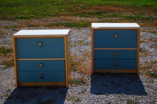 JOHNSON FURNITURE PAUL FRANKL Pair NIGHTSTANDs end table