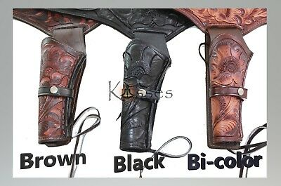 LEFT 22 CAL Tooled Holster Gun Belt Drop Loop LEATHER Western RIG SASS 34