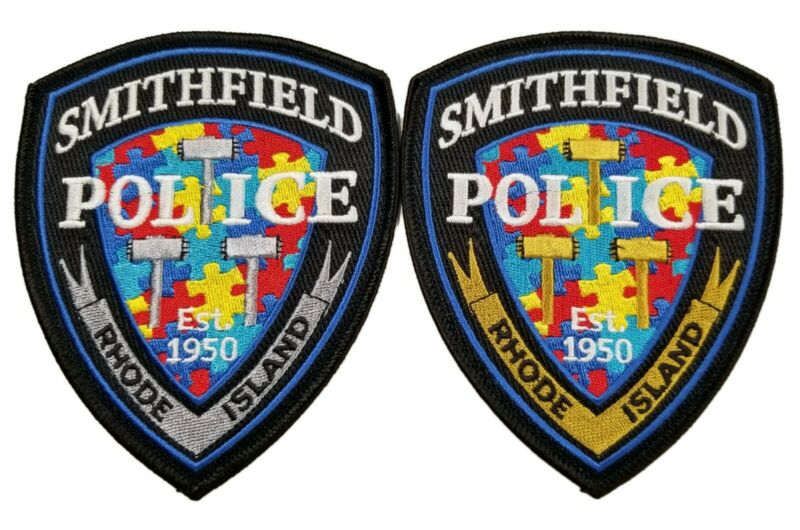 Smithfield RI Police Autism Awareness Patches - set of Gold and Silver 2021