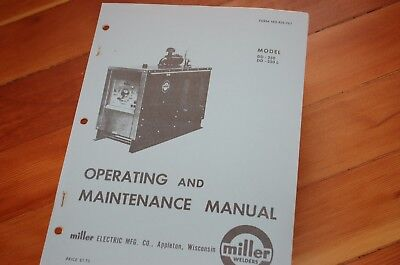 Miller Welder Model Dd-250 L Owner Operator Operation Maintenance Manual Book