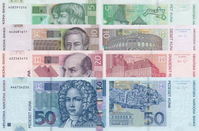 Croatia 4 Note Set: 5, 10, 20 & 50 Kuna (2001/12) - p37/p38b/p39b/40b UNC