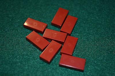 (8) DARK RED 1x2 Smooth Finishing Tile Brick Bricks  ~ Lego  ~ NEW