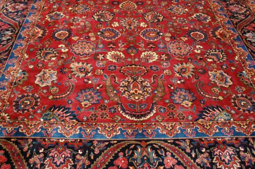 C1930s Antique Highly Detailed Signed Persian Dorokhsh Rug 10.1x17.4 Palace Size