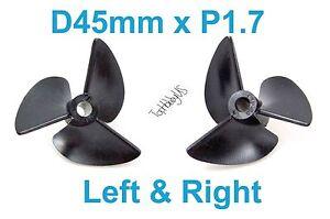 1 Set D45mm 3-Blades Left&Right P1.7 RC Boat Propellers 4mm Shaft (US SELLER)