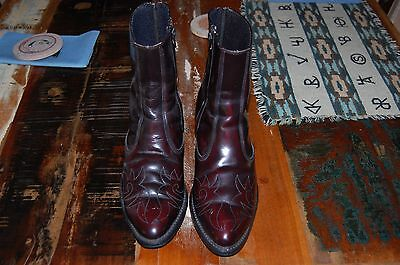 ACME Burgundy  Leather Side Zip Paddock Boots Men 9 EW USA MADE 04446