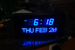 DBtech 0212BLU Large Digital Clock Blue letters & #s Day Date & Time NICE!