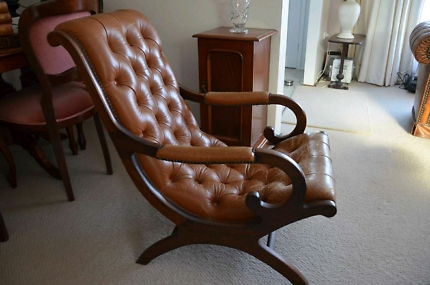 Antique Victorian English or French Tufted Leather Library Chair