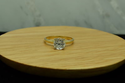 14K YELLOW GOLD ROUND WHITE TOPAZ SOLITAIRE RING BAND SIZE 7
