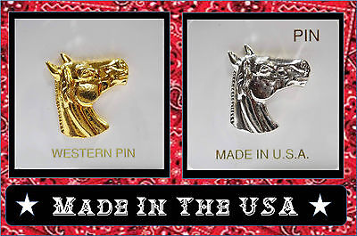 Choice Gold Silver WESTERN HORSE HEAD LAPEL HAT PIN Cowboy Country Girl Jewelry