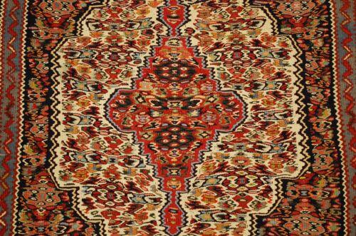 Cir 1930s Antique High Kpsi Prsian Sennah Kilim Flat Woven Rug 2.5x3.5 Vegy Dye