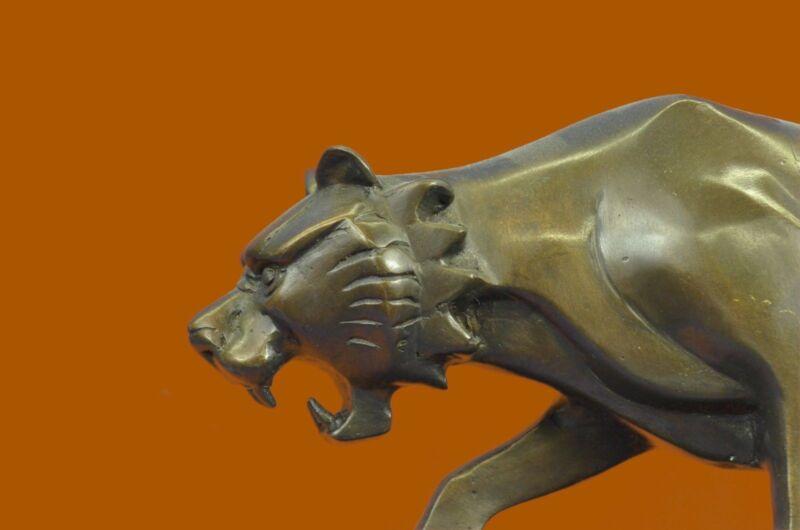 Handcrafted Extra Large Wildlife Animal African Tiger Bronze Figurine Figure Art