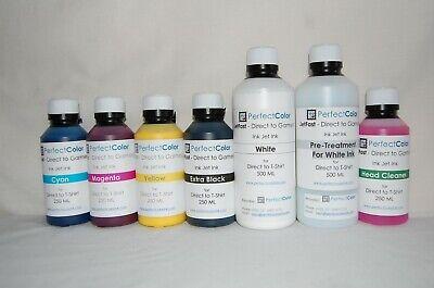 Dtg Ink Set - 7 Bottles 250 Ml Cmyk Hc 500 Ml White Ptw Direct To Garment