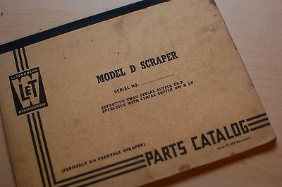 Letourneau Westinghouse Model D Tournapull Scraper Tractor Parts Manual List Pan