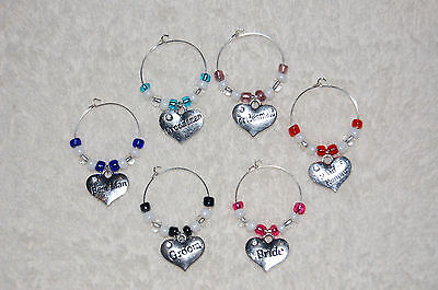 Wedding Bridal Party Wine Glass Charms - Favors, Rehearsal Dinner, Bride, Groom - Wine Party Favors