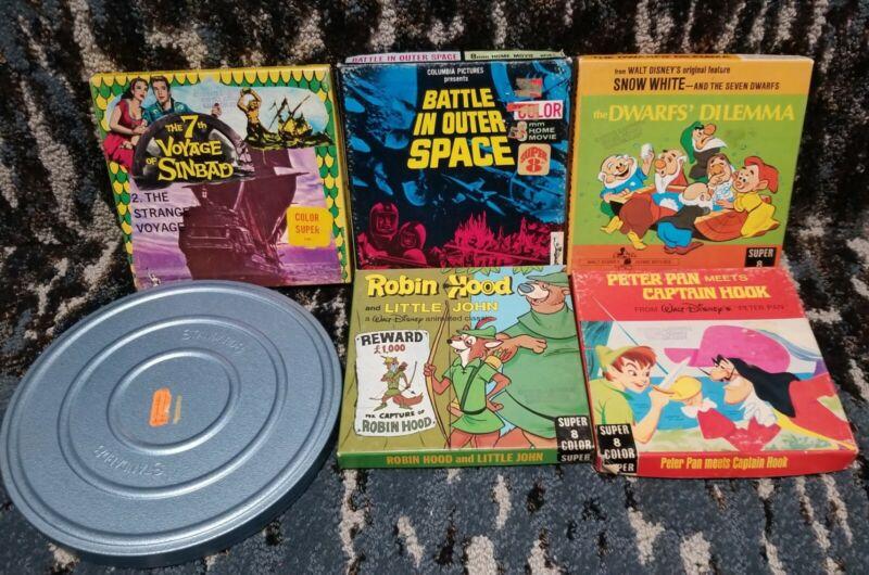 Vintage 8 MM Films in Original boxes lot of 5 + 1 metal Scherer reel Disney etc