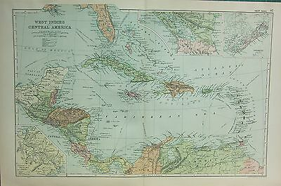1912 LARGE ANTIQUE MAP ~ WEST INDIES & CENTRAL AMERICA ~ PANAMA BERMUDA CUBA etc