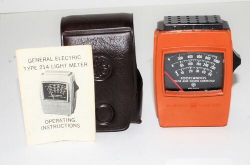 Very Nice General Electric Type 214 Light Meter with Case and Manual