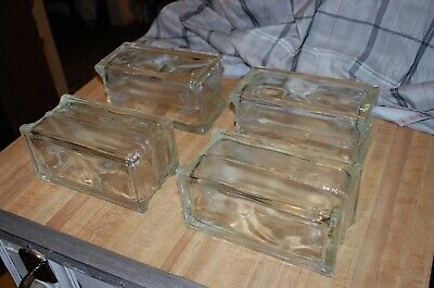 Wavy Glass Building Blocks Lot of 3 Architectural Crafts Art Deco 8 x 8 x 3 New
